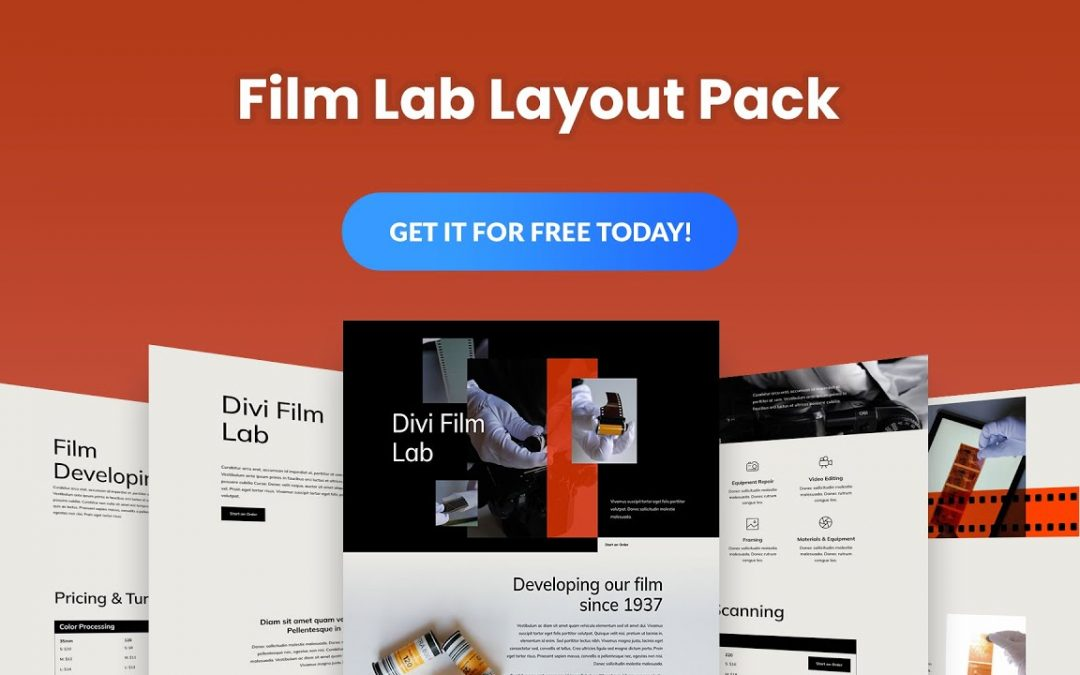 Get a FREE Film Lab Layout Pack for Divi